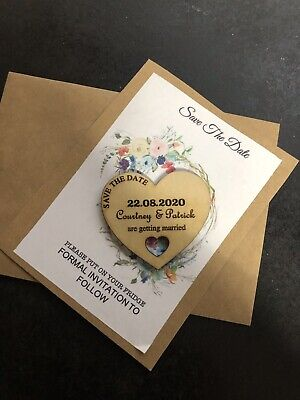 AU44.95 • Buy Personalised Wedding  Save The Date  Fridge Magnets -  X50pc With Cards Envelope
