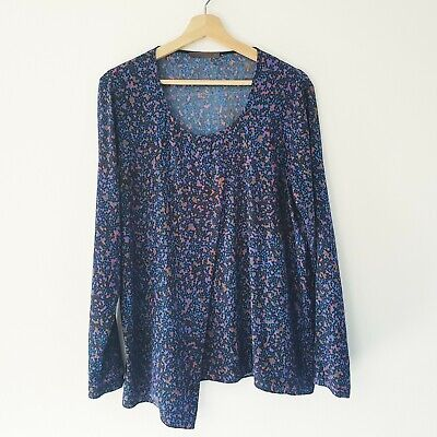 AU79.95 • Buy Scanlan Theodore Size 12 Spotted Print Silk Long Sleeve Drape Front Blouse Top