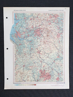 £14.99 • Buy Map Of England Liverpool Manchester Stoke North West 1967