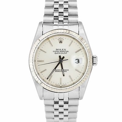 $ CDN6082.87 • Buy Rolex DateJust 36mm Stainless Steel Silver White Gold Fluted Jubilee Watch 16234