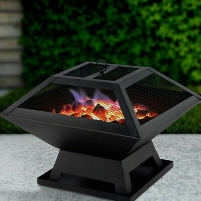 £34.99 • Buy Square Fire Pit Bbq Grill Heater Outdoor Garden Firepit Brazier Patio Outside