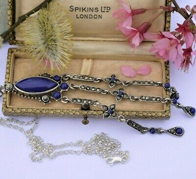 £95 • Buy A Stunning Long Vintage Marcasite/blue Stone Sterling Silver Chatelaine
