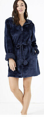 £15 • Buy Marks And Spencer Short Dressing Gown Navy Zip Front Fleece Cosy 12 / 14 Pom Pom