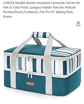 $ CDN52.36 • Buy New LUNCIA 9x13 Double Decker Insulated Casserole Carrier For Hot Or Cold Food