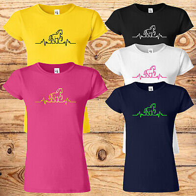 £8.99 • Buy Heart Beat Horse Riding Womens T Shirt Equestrian Funny Birthday Gift Ladies Top