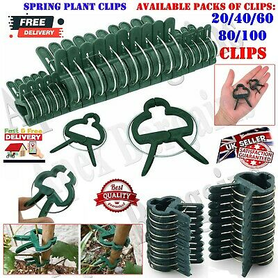 £3.95 • Buy 20/40/100x Reusable Plant Clips Tomato Support Fixing Clip Spring Gardening Tool