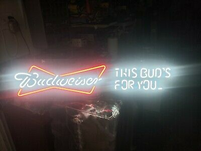 $ CDN251.76 • Buy NEON BUDWEISER SIGN THIS BUD'S FOR YOU DIMENSION  L36 XW11  MINT CONDITION.