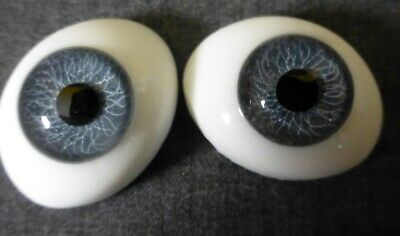 £17.90 • Buy 22mm GY OVAL GLASS DOLL EYES, EYES For REBORN , ANTIQUE DOLL, Dollmaking