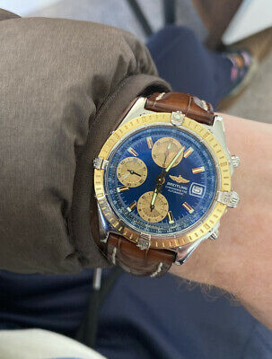 £1995 • Buy Breitling Chronomat D13352 18k Gold Automatic Mens Watch Croc Strap With Papers