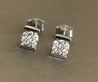 £239 • Buy 9ct White Gold Diamond Earrings 0.20ct Daisy Cluster Studs Hallmarked