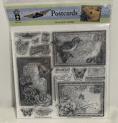 $14.98 • Buy Hot Off The Press POSTCARDS Mail Collage Bird Flowers Rubber Stamps Set