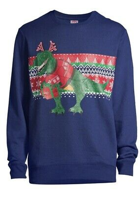 $11.99 • Buy Ugly T-Rex Christmas Present Sweater Big Men's Size Large 42-44 Pullover Graphic