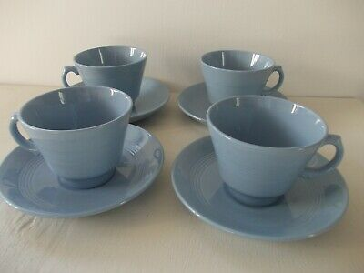 £20 • Buy Woods Ware Iris Blue Cup And Saucer X 4 1940's Utility