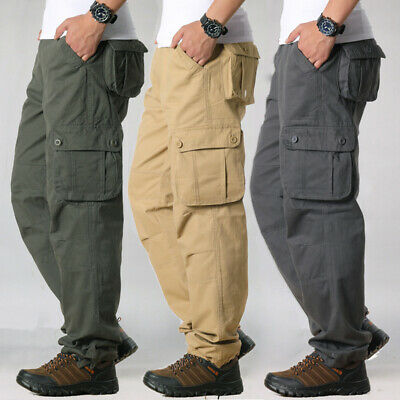 $24.29 • Buy Men's Tactical Cargo Army Work Trousers Combat Outdoor Pocket Pants Plus Size