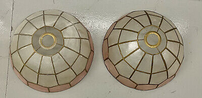 £50 • Buy French Vintage Capiz Shell Lampshades X 2 Mother Of Pearl & Gold