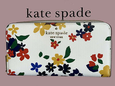 $ CDN103.24 • Buy Kate Spade Staci Sailing Floral Large Continental Zip Wallet Cream Multi Clutch