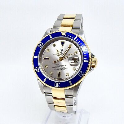 $ CDN21967.09 • Buy Rolex Submariner 16613 Serti Grey Diamond And Sapphire Dial Box And Papers 2003