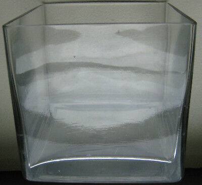 £24.84 • Buy Heavy Clear Glass VASE Square 6' X 6  X 6  Cube Distinctive VERY Nice