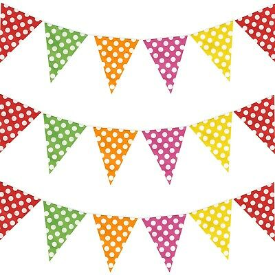 £2.99 • Buy Multicolor Polka Dot Plastic One-Sided Garden Festival Party Bunting - 10m
