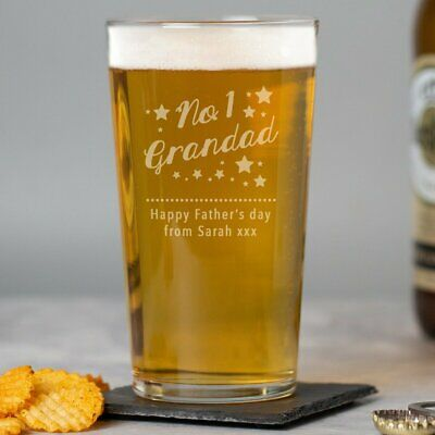 £7.99 • Buy Personalised No.1 Grandad Pint Glass Birthdays Fathers Day Christmas Day
