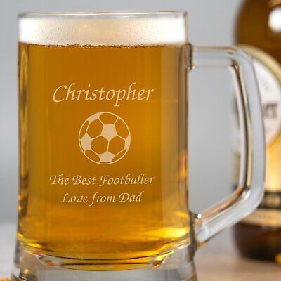 £7.99 • Buy Personalised Football Glass Pint Stern Tankard Birthday Fathers Day Christmas