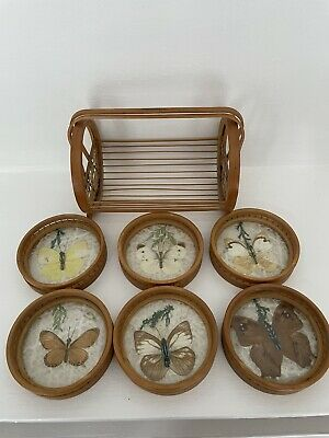 £18.99 • Buy Vintage 6 X Pressed Real Butterfly/Moth Coasters Bamboo / Wicker Holder 70s Bar