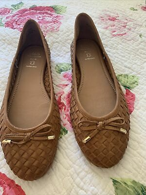 £22 • Buy M&S Collection 7.5 Wide Fit Flat Leather Tan Woven Pumps New