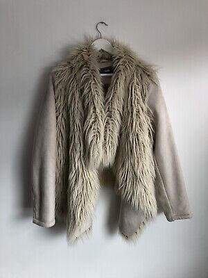£14 • Buy South Faux Suede Fur Designer Coat Jacket Waterfall Collar Size 22 20 Shaggy