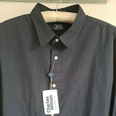 £4.98 • Buy Charles Wilson Mens Stylish Navy Blue Button Front 100% Cotton Shirt XXL NEW!
