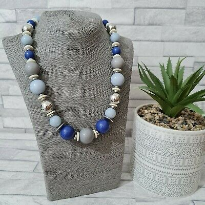£8.99 • Buy OASIS Modern Statement Necklace Blue/Silver Plastic Beads Costume Jewellery