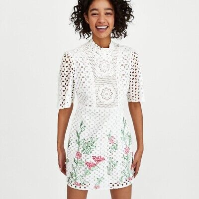 £11.50 • Buy Zara White Lace And Crochet Floral Dress (size M)