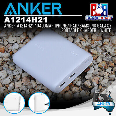 AU89.95 • Buy Anker A1214H21 10400mAh IPhone/iPad/Samsung Galaxy Portable Charger - White