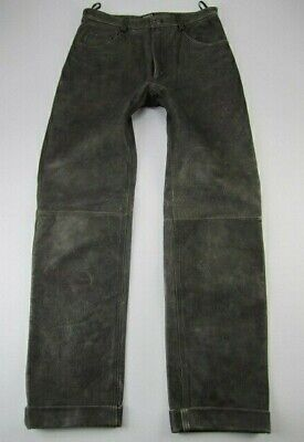 $99 • Buy Mens M Julian Wilsons Leather Gray Distressed Motorcycle Pants Fits 32x33