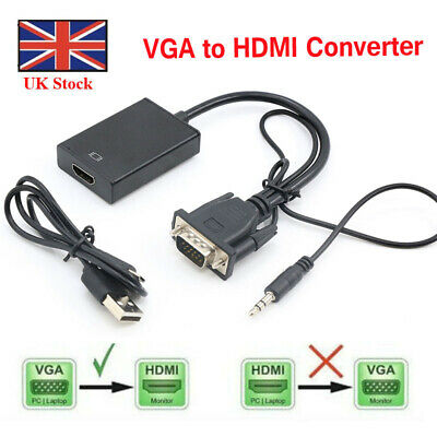 £4.99 • Buy VGA Male To HDMI Female 1080P Output HDTV Audio Video Cable Converter Adapter