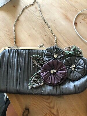 £8.95 • Buy Leko London Grey Clutch Bag With 3D Flower Designs In Excellent Condition.