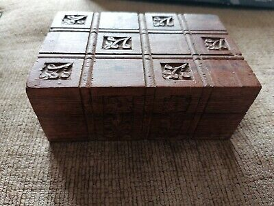£0.99 • Buy Small Decorative Carved Wooden Box/Treasure Chest/Trunk. Hinged Lid.