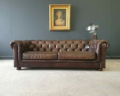 £999 • Buy 829.large Halo Vintage Brown Leather 3 Seater Chesterfield Sofa 🚚 🇬🇧
