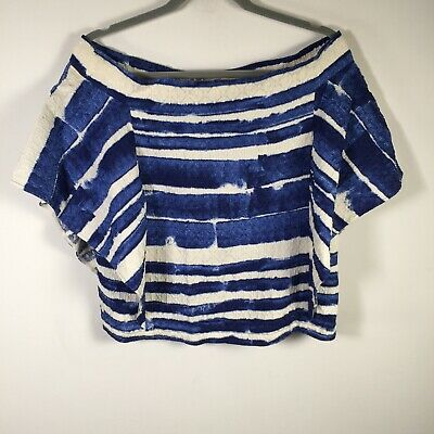 AU59.95 • Buy Scanlan Theodore Womens Blue White Striped Off Shoulder Top Size 6 Short Sleeve