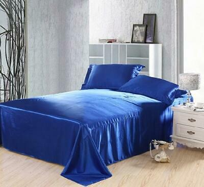 AU32.95 • Buy King Size Royal Blue Satin King Fitted Sheets And Pillow Case Set 125GSM