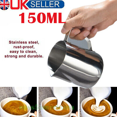 £4.98 • Buy 150ml Stainless Steel Milk Frothing Jug Frother Coffee Container Metal Pitcher🔥