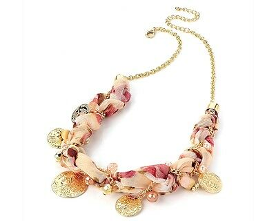£5.49 • Buy Gold Tone Pink Fabric And Coin Necklace