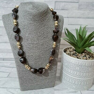 £6.90 • Buy Chunky Beaded Statement Necklace Brown/Gold Plastic Beads Costume Jewellery