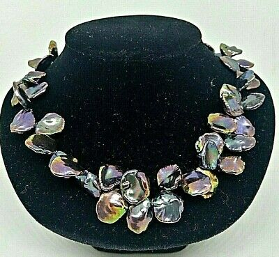 $350 • Buy Unique Ladies 18  Black Mabe Pearl Cluster Necklace 14kt Yellow Gold Clasp
