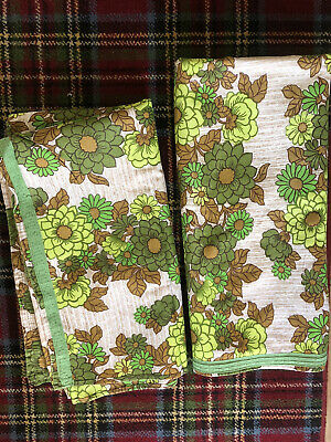 """£26 • Buy True 1960s 1970s Vintage Curtains Green Cream Floral Size 43"""" Wide 93"""" Long Pair"""