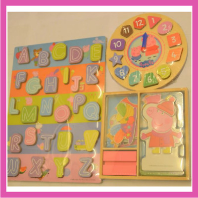 £24.95 • Buy Peppa Pig Wooden Puzzle Clock And Activity Set 63 Pieces 3-in-1 Peppa Pig Set