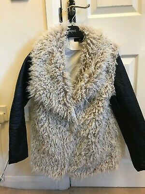 £10.99 • Buy H&m Ladies Cream Shaggy Winter Coat With Black Faux Leather Sleeves Size 10 Bnwo