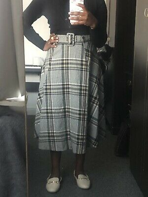 £3 • Buy H&M Brown Checked Midi Skirt With Belt Size 10
