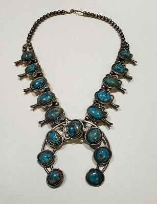 $ CDN1214.54 • Buy Vintage Sterling Silver 925 Squash Blossom Turquoise Navajo Beads Necklace