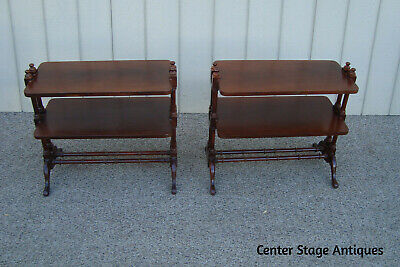 $325 • Buy 60878 PAIR  Solid Mahogany HAMMARY Curio Bookcase End Table Stands Nightstands