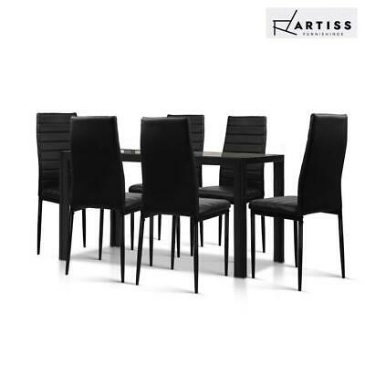 AU227.80 • Buy RETURNs Artiss Dining Table And Chairs Set Of 7 Chair Glass Table Black